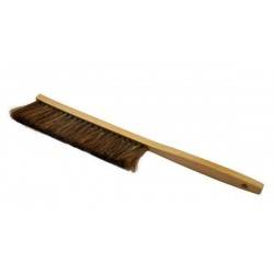 Wooden bee brush with natural dark bristle, long